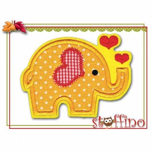 Applikation Elefant gelb mit Herzen