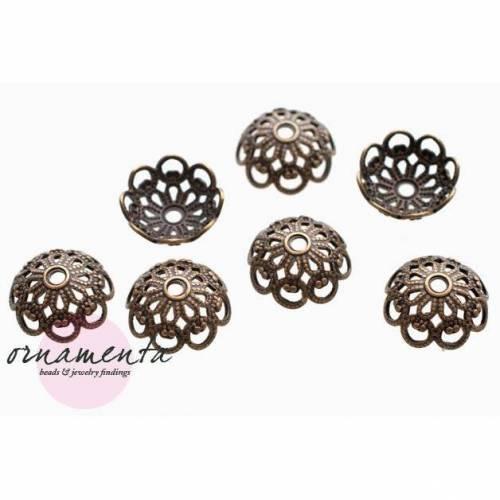 8Stk ~ 8mm ~ Messing ~ Perlenkappen ~ bronze ~ Material zur Schmuckherstellung