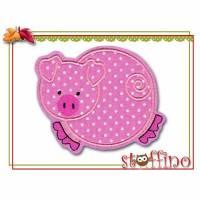 Applikation süßes Schweinchen rosa weiß gepunktet Bild 1