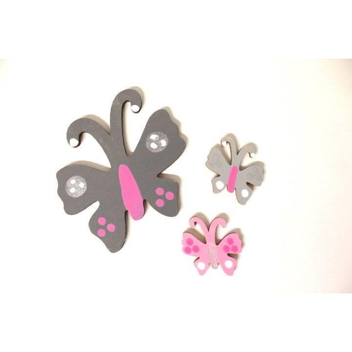 2 kleine + 1 großer Schmetterling zu Holzbuchstaben Bild 1