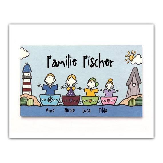 Türschild Maritim Namenschild Familie Boot Meer Familienschild Holzschild von Hand bemalt Unikat individuell personalisiert Hochzeit Bild 1