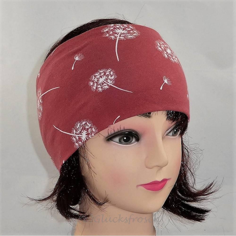 Stirnband rostrot mit Pusteblumen Bild 1