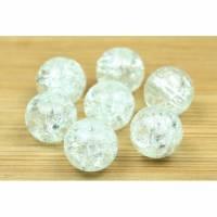 CracklePerlen, Glas, rund, weiß, 8mm, 30 Stück Bild 1