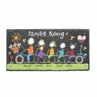 Türschild Familie Schiefer personalisiert Familienschild Fahrrad handbemalt Namensschild Tandemfamilie Schieferschild wetterfest Bild 1