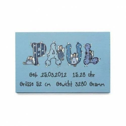 Namensschild Junge Baby Geschenk zu Geburt Taufe, Kinderzimmer, Gastgeschenk Kind, Schutzengel, handbemalt, personalisiert