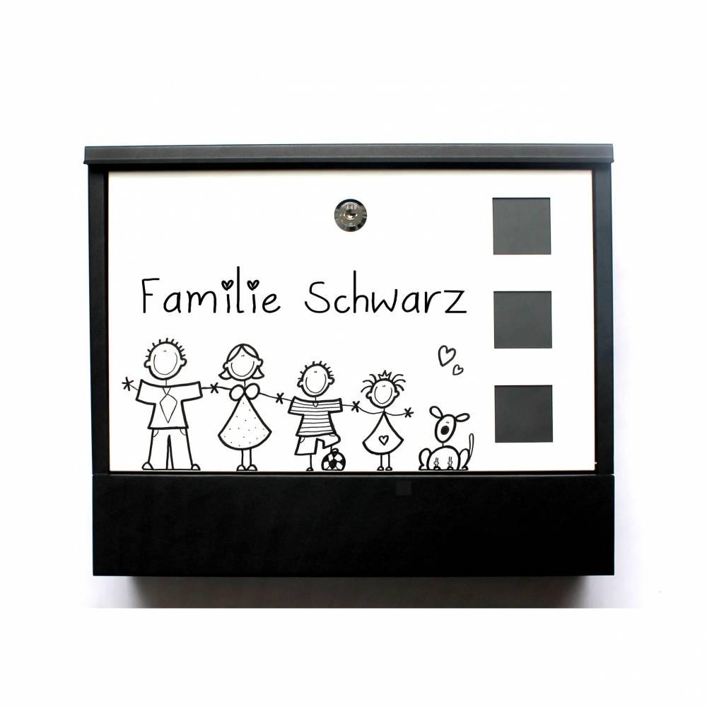 Briefkasten Familie modern handbemalt Wunschname, Wunschfiguren, Postkasten Bild 1