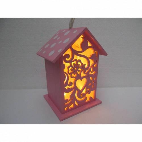 Leuchte, Lampe, Vogelhaus, rosa, Deko fürs Kinderzimmer, Schlummerlicht