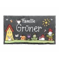 Türschild Familie personalisiert, Namensschild Schiefer, Familientürschild / Haustürschild / Eingangsschild / Familienschild handbemalt Bild 1