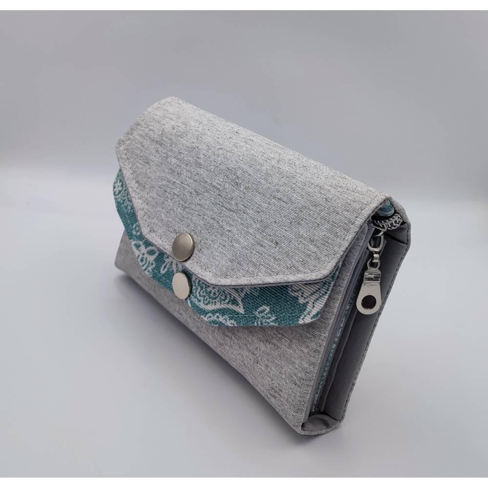 Handgemachte Genius Damen Geldbörse Portemonnaie  Grau / Mint  Bild 1