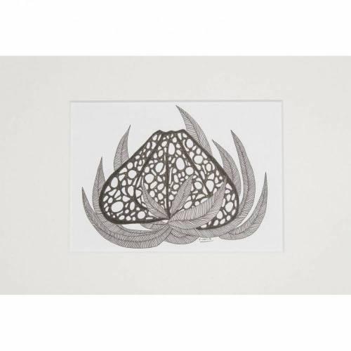 Deko Kunst Zeichnung abstrakt Blüte Blatt Illustration Dekoration Wohnen Wanddekoration schwarz grau weiß Tusche Fineliner Art