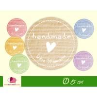 "DIY - Aufkleber   ""handmade"" - Herz + Shopname"