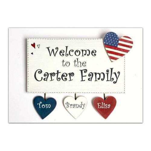 Shabby Türschild USA Welcome to the Family, Holztürschild mit Herzanhänger, personalisiert, handbemalt, individuell, Familientürschild
