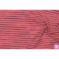 Jersey Streifen/Stripes -coralle/dunkelblau- 0,5 m