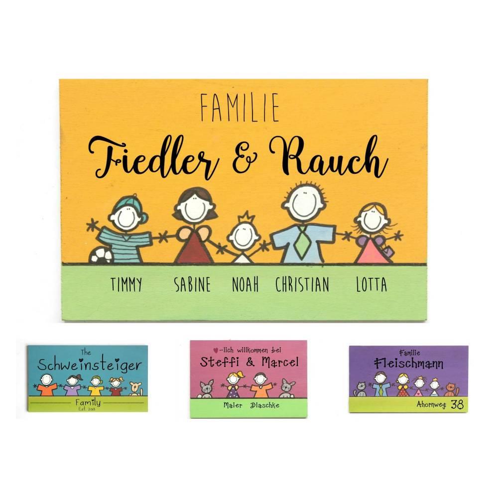 Türschild Familienschild Namensschild Holzschild Unikat von Hand bemalt individuell personalisiert ausgefallen persönlich besonders Bild 1
