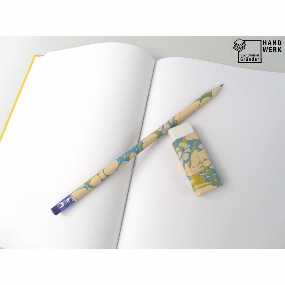 Set, Bleistift Radiergummi, Marmorpapier blau gold beige Bild 1