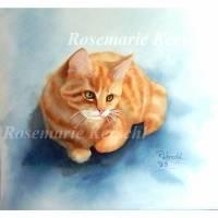 Rote Katze handgemaltes Aquarellbild, Tierporträt in blau, ocker, rotbraun, weiß mit grünen Augen 30 x 32 cm  Bild 1