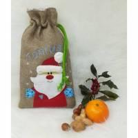 """Geschenkesäckchen Jute """"Nikolaus & Weihnachtsmann"""" blau Bild 1"""