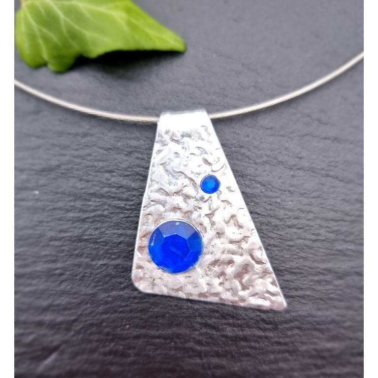 2-teiliges Schmuck-Set Dreieck mit blauen Steinchen Bild 1