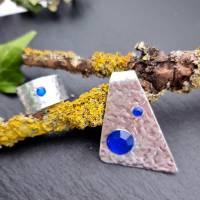 2-teiliges Schmuck-Set Dreieck mit blauen Steinchen Bild 2