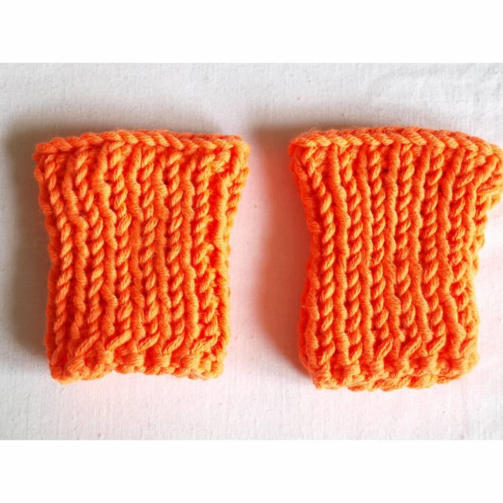 Beinstulpen Wadenwärmer Baby gestrickt Gr. 74/80 Merino Wolle neon orange Bild 1
