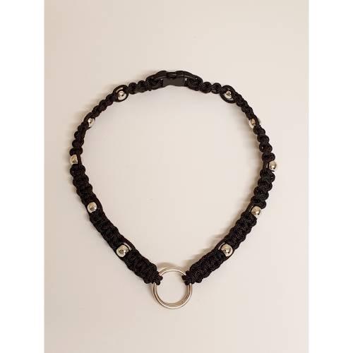 Geflochtenes Markenband für Hunde mit Perlen verziert, Hundemarkenband, Schmuckhalsband mit Markenring