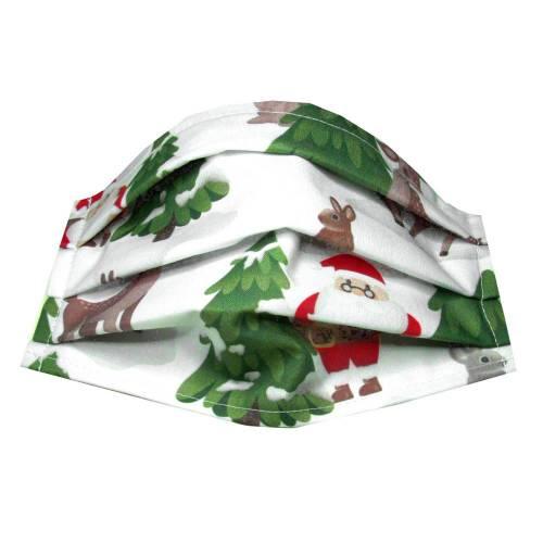 Behelfs-Mund-Nase-Maske Gr. M *Weihnachtsmann* Behelfsmaske, Mundschutz, Baumwollstoff mit Nasenbügel
