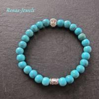 Kinderarmband Edelstein Türkis blau Buddha Kinder Armband  Bild 1
