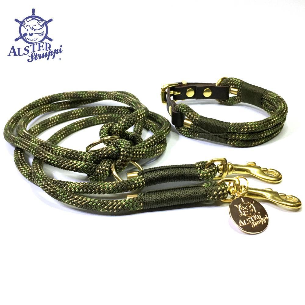 Leine Halsband Set verstellbar oliv, grün, beige, Wunschlänge Bild 1