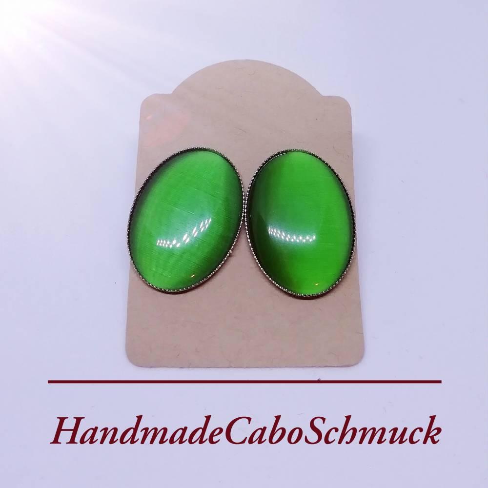 Edelstahl Cabochon Ohrringe Ohrstecker 18x25mm Cateye grün Bild 1