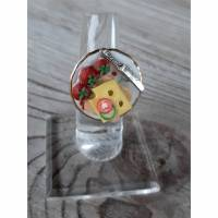 Ring Käsebrot mit Tomaten aus Fimo Polymer Clay handmodelliert Fingerring Bild 1