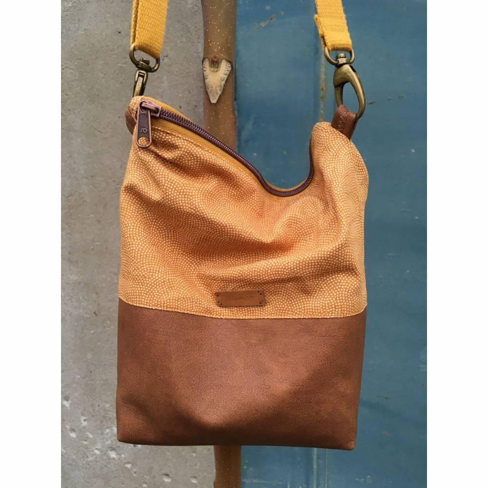 Handtasche Umhängetasche Tasche senfgeb Punkte Kunstleder Bild 1