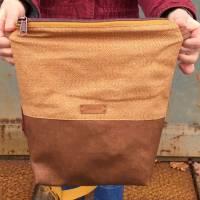 Handtasche Umhängetasche Tasche senfgeb Punkte Kunstleder Bild 3