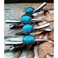 zwei Haarklammern Cabochon silberfarbe mit eigenen Bild personalisiert Bild 1