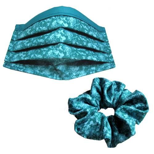 1 x Behelfs-Mund-Nase-Maske Gr. M plus 1 x Scrunchie *Eisblumen* Baumwollstoff mit Nasenbügel