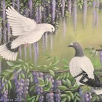 Tauben Im Blauregen - Acryl Original Kunst Malerei Bild Blauregen Leinwandbild handgemalt 50cm x 40cm Bild 1