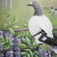 Tauben Im Blauregen - Acryl Original Kunst Malerei Bild Blauregen Leinwandbild handgemalt 50cm x 40cm Bild 2