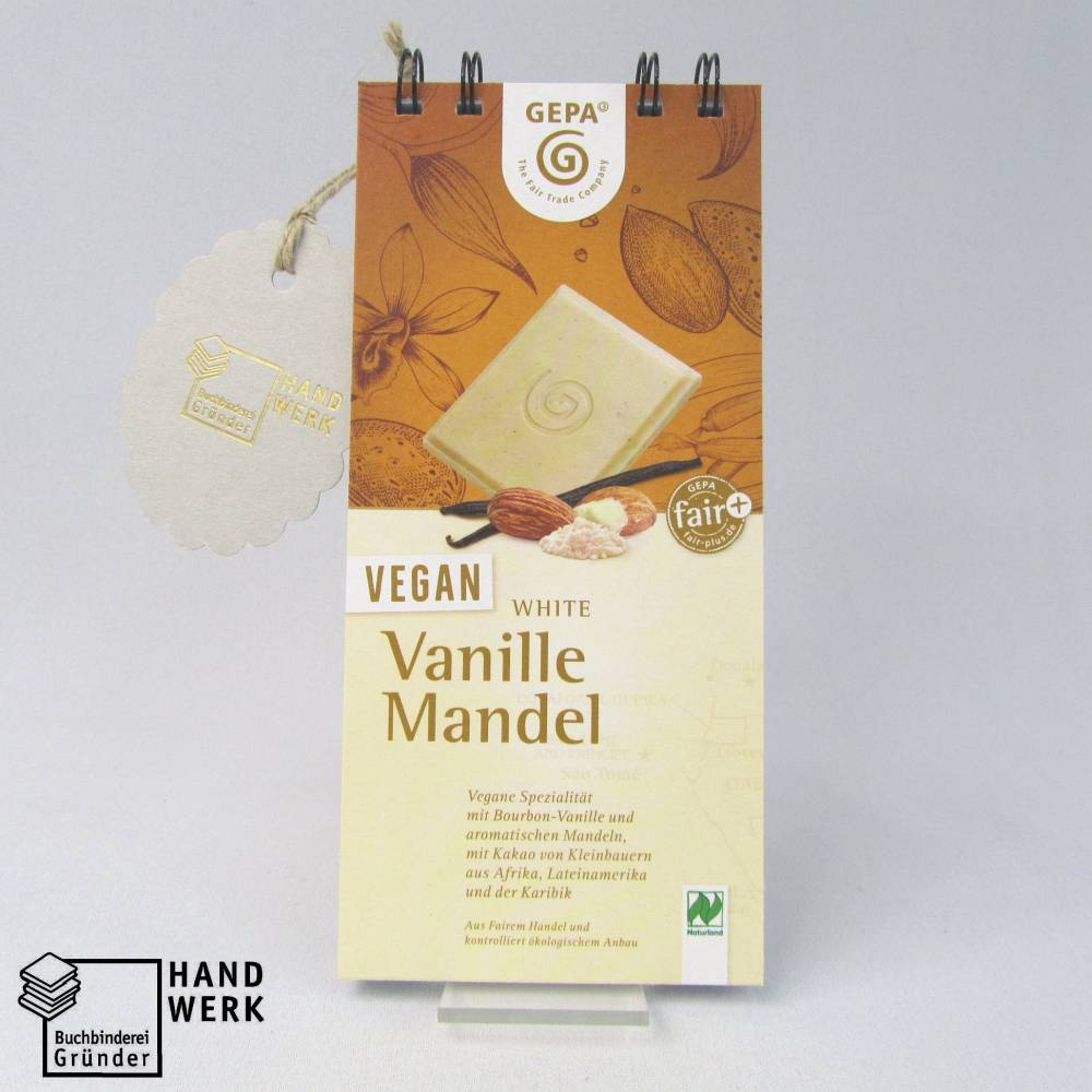 Notizblock, vegan Vanille Mandel, Originalverpackung Block Schokolade, Upcycling Bild 1