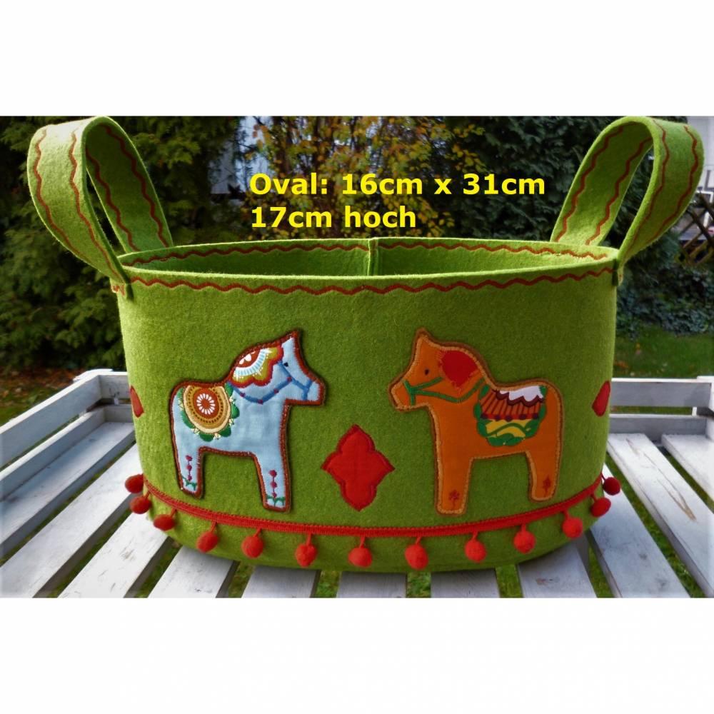 Filzkorb Dala Pferde, Utensilo, Korb, Dalapferde, grün, oval, groß, bunt, Boho, Hippie, Gipsy Bild 1
