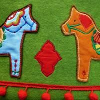 Filzkorb Dala Pferde, Utensilo, Korb, Dalapferde, grün, oval, groß, bunt, Boho, Hippie, Gipsy Bild 3