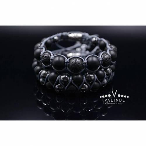 Herren Armband-Set aus Edelsteinen Onyx Lava Hämatit, Makramee Armband, Geschenk für Mann, 10 mm