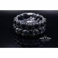 Herren Armband-Set aus Edelsteinen Onyx Lava Hämatit, Makramee Armband, Geschenk für Mann, 10 mm Bild 1