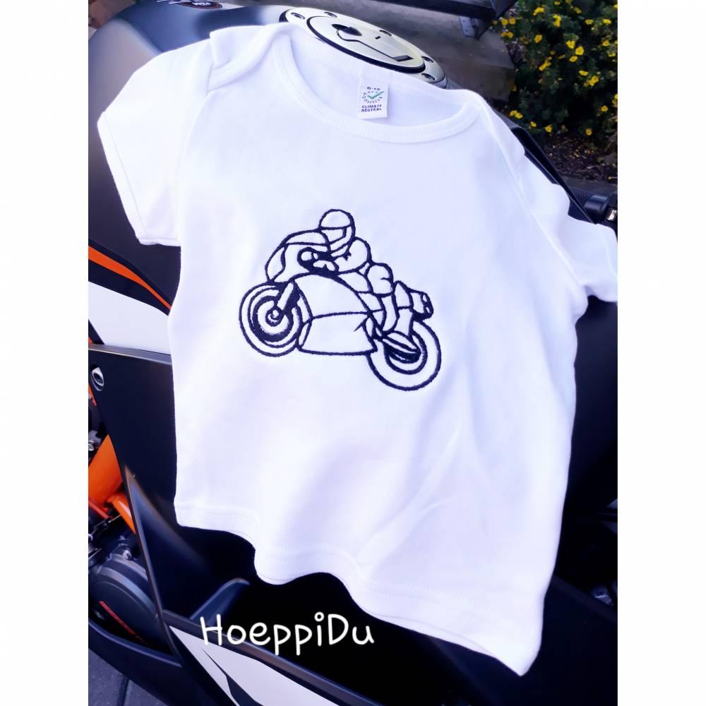 Sofortkaufartikel, Baby / Kinder T-Shirt 6-12 Monate, weiß mit Motorrad Stickerei, HoeppiDu Bild 1