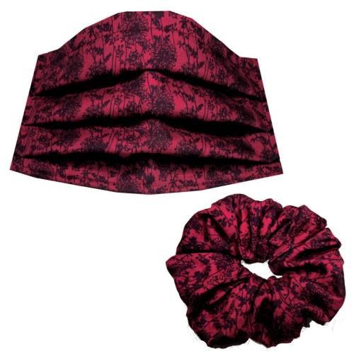 1 x Behelfs-Mund-Nase-Maske Gr. M plus 1 x Scrunchie *Blümchen* dunkelrot schwarz Baumwollstoff mit Nasenbügel
