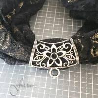 1 Stck. Metall Element   Schalhalter   25 x 45mm   Schalring mit Öse   Rohling für DIY Schmuckherstellung Bild 1