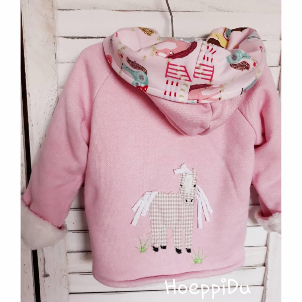 Sofortkaufartikel, Baby/Kinder Jacke mit Pferdestickerei Größe 98, Mädchen, rosa, kuschelig warm, HoeppiDu,  Bild 1