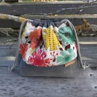 Projekttasche/Projektbeutel - Handarbeitstasche - Stricktasche mit Zugband - upcycling Bild 2