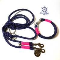 Leine Halsband Set blau, pink, für kleine Hunde mit 6 mm Tau Bild 1