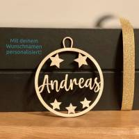Geschenkanhänger/Christbaumanhänger mit deinem Wunschnamen personalisiert