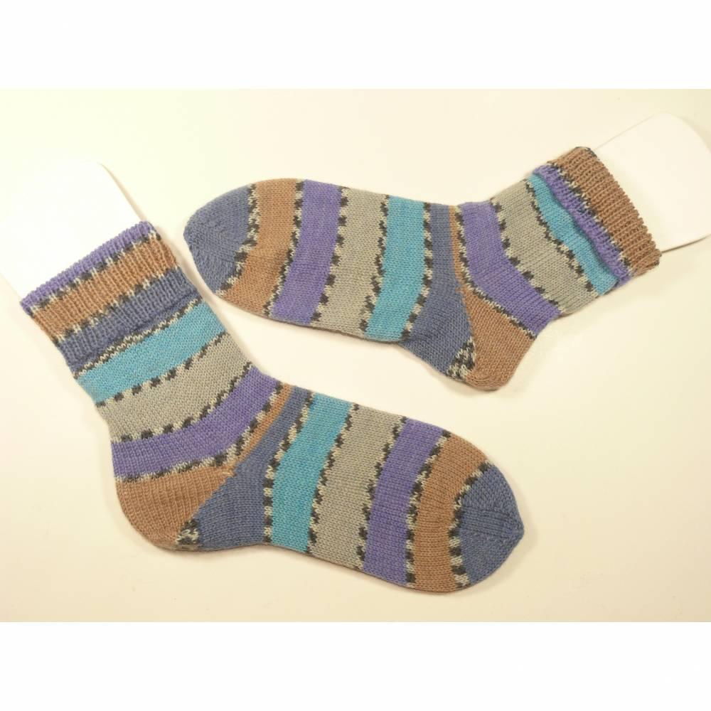 Gestrickte Socken, 35/36 (Fußlänge ca. 22-23 cm)  Blau, Grau, Flieder, Beige bemustert, 75%Wolle-25% Polyamid Bild 1