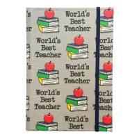 """Notizbuch """"Best Teacher/Grey"""" A5 stoffbezogen Lehrer Geschenkidee Geschenkartikel Geschenk Dankeschön Abschied Bild 2"""